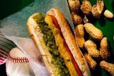 A hot dog and peanuts at the ballpark.