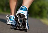 woman walks in training shoes.
